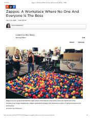 Zappos- A Workplace Wher...ryone Is The Boss - NPR
