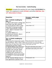 ENG 303-4 Gatsby Guided Reading Assignment with schedule