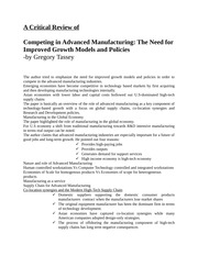 A Critical Review of manufacturing