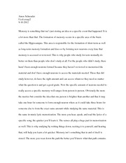 Memory Evaluation essay