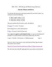 Study Guide on Electric Motors and Drives