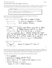 Section 4.3 Derivatives and the Shape of Curves Notes