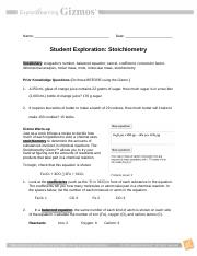 Stoichiometry Gizmo - Name Abigail Kerpsack Date Student ...