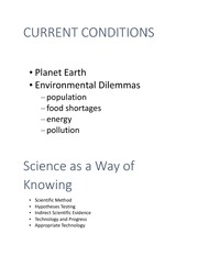 Environmental science-Current Conditions