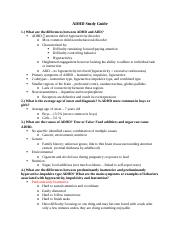 ADHD filled study guide