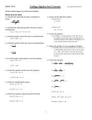 Math 1314 Test1 Review
