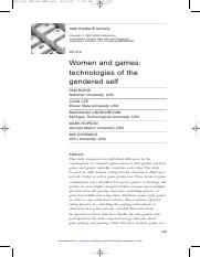 Women and games - technologies of the gendered self