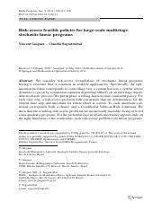 Risk-averse feasible policies for large-scale multistage