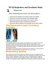 07.02 Respiratory and Circulatory Notes