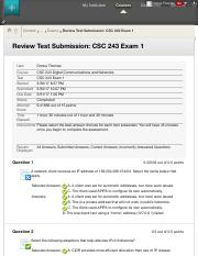 Review Test Submission: CSC 243 Exam 1 – CSC 243 Digital...