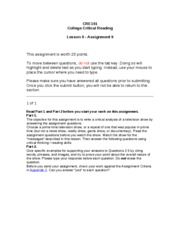 CRE101 - Lesson 9 - Assignment 9
