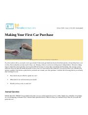 Making Your First Car Purchase