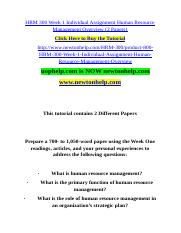 HRM 300 Week 1 I Assignment H  Resource Management Overview (2 Papers).doc