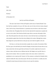 Jane Eyre and Pride and Prejudice Comparison Paper