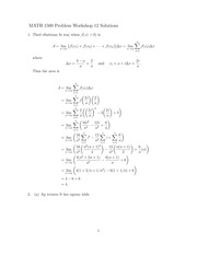 MATH 1500 Fall 2014 Tutorial 12 Solutions
