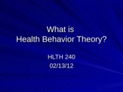 Health Behavior Theory