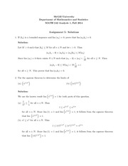 Solutions to Assignment 5 for MATH 242