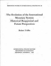 The Evolution of the International Monetary sys