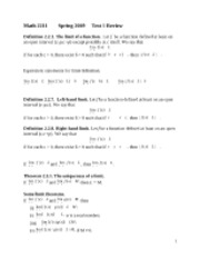 Calculus 1 Test 1 Study Guide