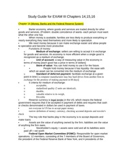Study Guide for EXAM III Chapters 14,15,16 Money, Banks and Federal REserve System, Monetary Policy,