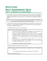 Solutions for Unit 6 - Self Assessment Quiz