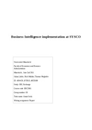 Decision procedure at SYSCO about BI implementation