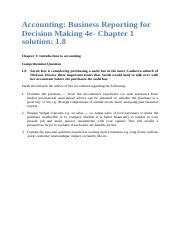 Accounting Business Reporting for Decision Making 4e- Chapter 1 Solution 1.8