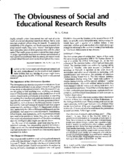 The Obviousness of Social and Educational Research Results