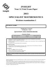 Specialist Maths 1_Q&A_FINAL (new format)_22May2013