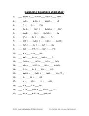 balancing-equations-worksheet - Balancing Equations Worksheet 1 ...
