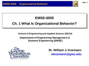 Lecture 1 What Is Organizational Behavior