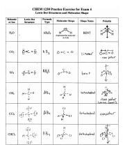 Lewis Dot Structure Key Chem 1230 Practice Exercise For Exam 4