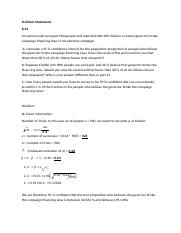 Estimation Analysis Problem Part One