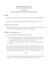 Lecture 1 - The foreign exchange market and the balance of payments