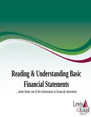 Reading & Understanding Basic Financial Statements.ppt