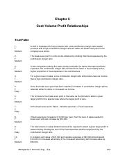 Test Bank - Chapter 6 Cost Volume Profit Analysis.doc
