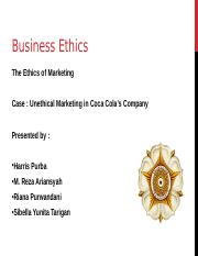 Business Ethics in cocacola company Final
