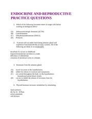 CHEM 2213A Class Notes ENDOCRINE AND REPRODUCTIVE PRACTICE QUESTIONS