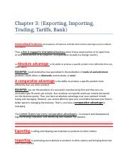 Chapter 3 Business (Exporting, Importing, Tariff...)