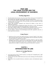Business Law Chapter 1 - Notes