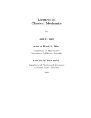 [Article] Lectures On Classical Mechanics