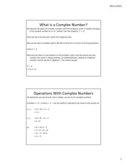 Lesson 26b - Complex Numbers - Basics