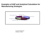 Examples of AHP and Analytical Calculation for Manufacturing Strategies