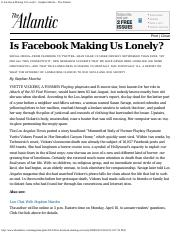 Is Facebook Making Us Lonely
