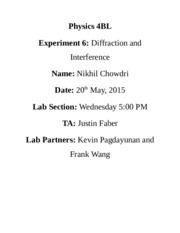 Physics 4BL Lab 6