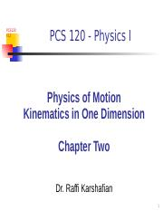 PCS120F12 Chapter Two Kinematics in one dimension Lecture POST(1)