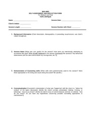 Self Reflection and Assessment Form