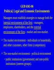 GEB 6365-06 Political Legal and Economic Environment.PPT