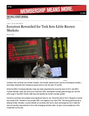 Article- Investors Rewarded for Trek Into Little Known Markets