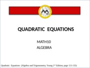 Lesson 3 Quadratic Equations.ppt